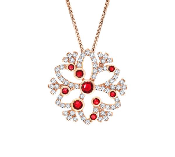 Snowflake雪花系列18K玫瑰金镶红宝石及钻石吊坠