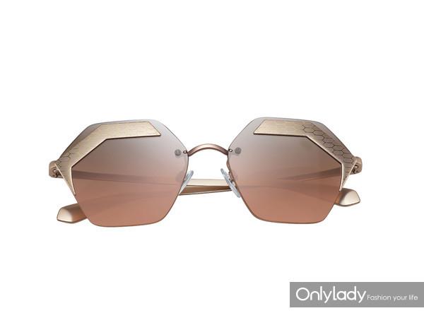 BVLGARI宝格丽Serpenteyes系列 X六边形镜框金粉色太阳镜