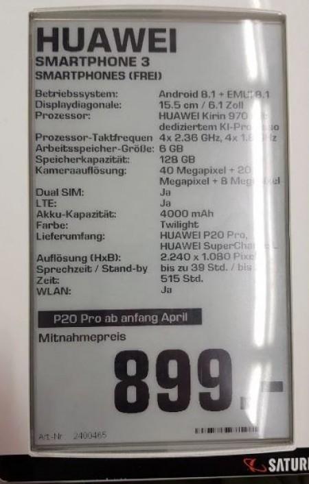 649/899 欧元!华为 P20/P20 Pro 全曝光