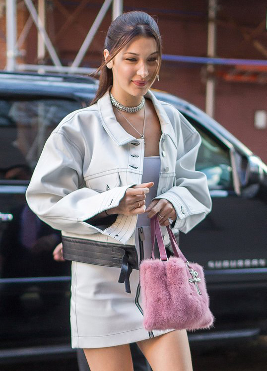 Buy-Bella-Hadid-Pink-Fluffy-Chrome-Hearts-Bag-Online