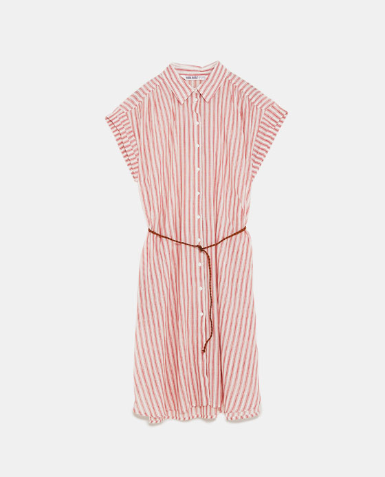 ZARA 配腰带衬衣式连衣裙 RMB 99