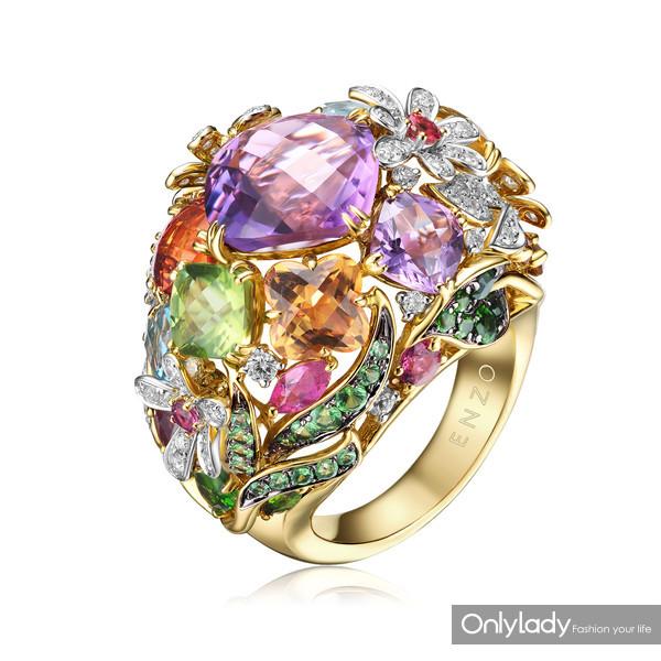 18K金镶托帕石石榴石透辉石碧玺黄晶紫晶橄榄石沙佛莱及钻石戒指