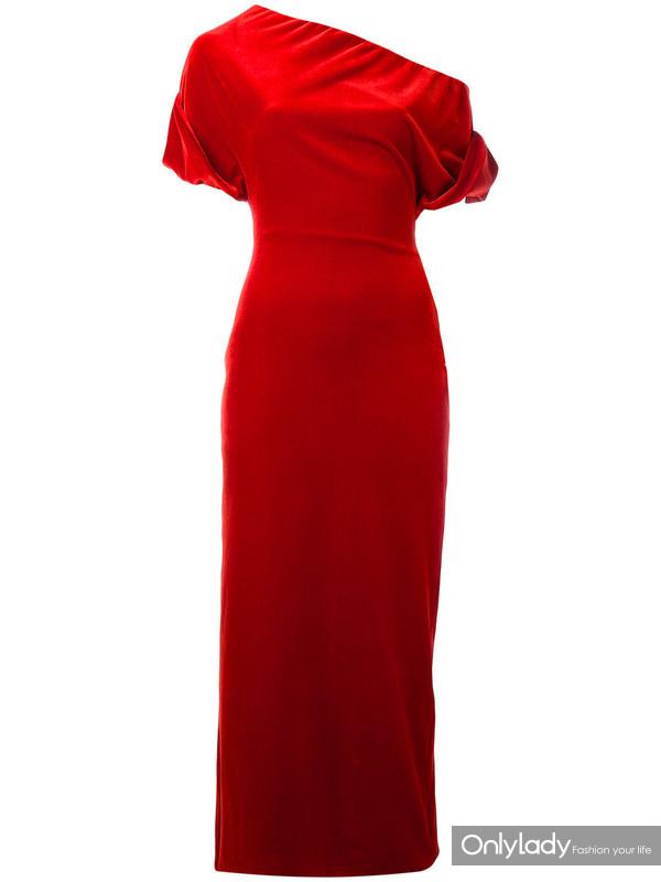 Christopher Kane 红色 弹性丝绒小礼服