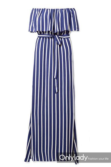 ALICE + OLIVIA Grazi 露肩条纹巴里纱超长连衣裙RMB 3,200