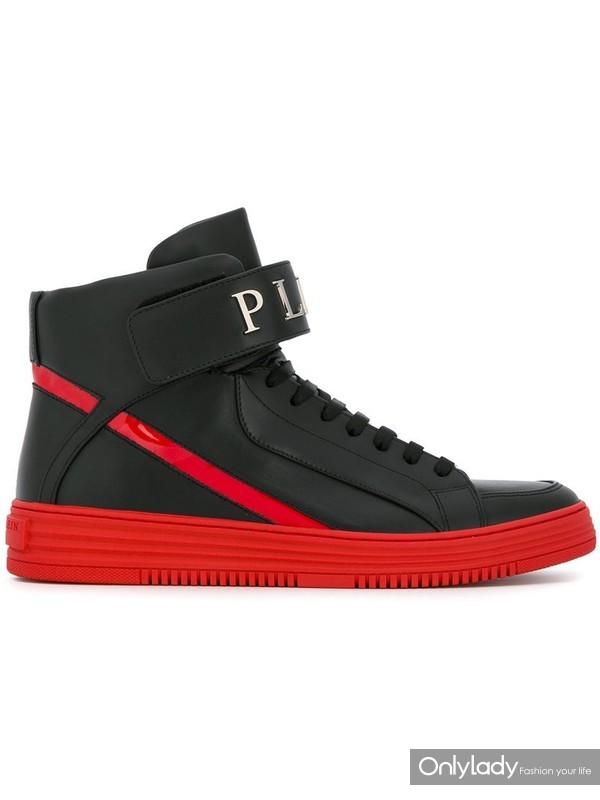 Philipp Plein拼接高帮板鞋