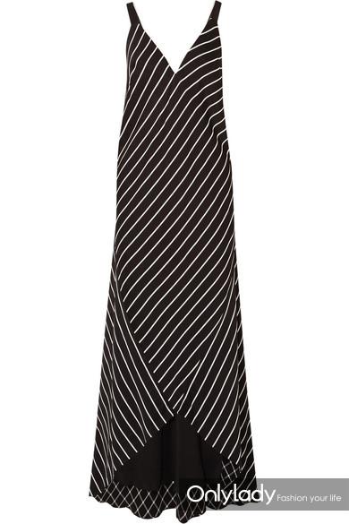 HAIDER ACKERMANN 条纹缎布超长连衣裙 RMB 15,000
