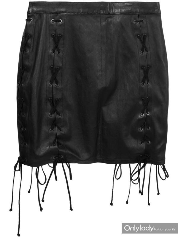 Unravel Project 黑色 棉质混纺与牛皮 迷你系带半身裙