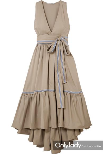 SILVIA TCHERASSI Vico 条纹帆布边饰分层棉质混纺斜纹布中长连衣裙 RMB 8,300