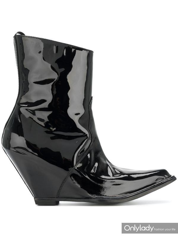 Unravel Project 黑色 牛皮 坡跟短靴