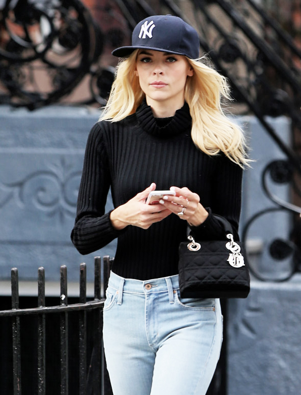 Jaime-King-Christian-Dior-Lady-Dior-Mini-Bag-black-satin-handbag