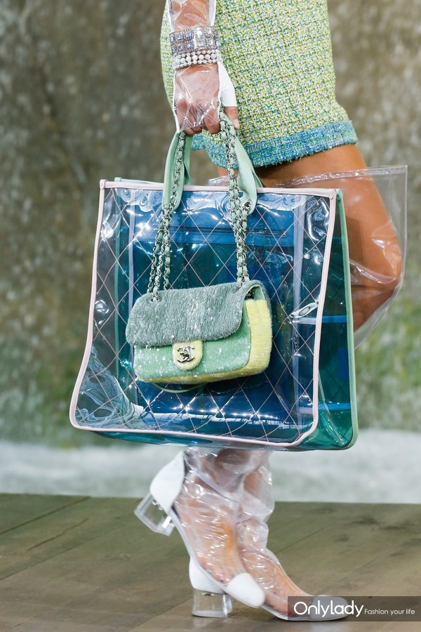 Chanel-BlueGreen-PVC-Tote-and-Light-Green-Sequined-Classic-Flap-Bags-2-Spring-2018