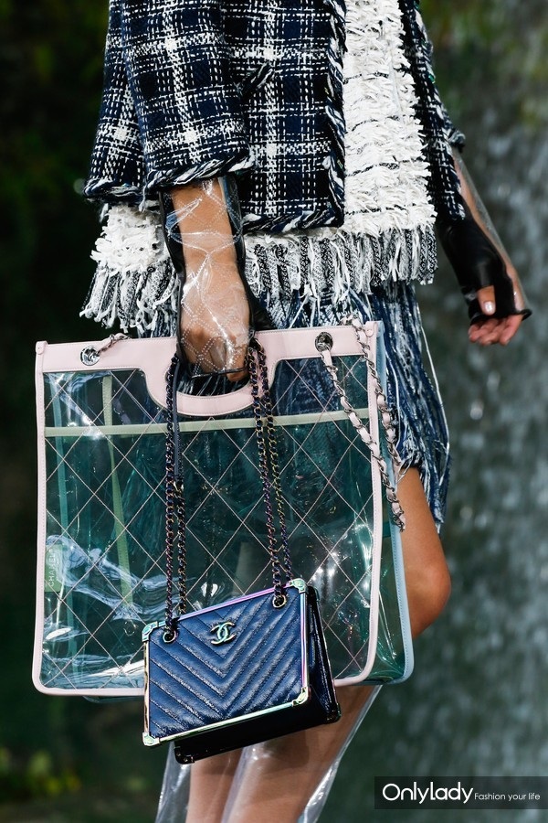 Chanel-Green-PVC-Tote-and-Blue-Chevron-Shoulder-Bags-Spring-2018