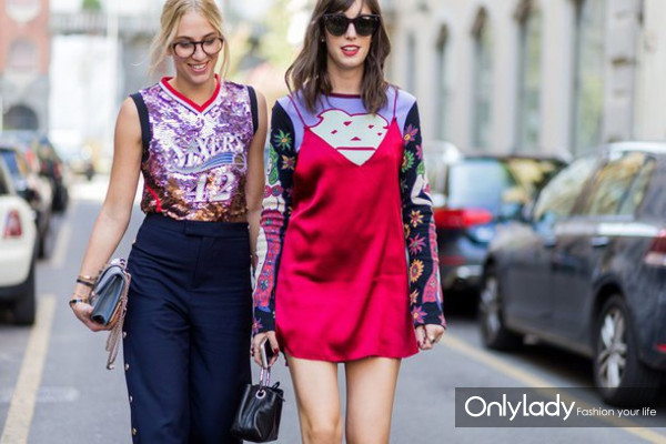 zhcltb-l-610x610-dress-fashionweekstreetstyle-reddress-minidress-slipdress-dresstshirt-sweater-printedsweater-sequin-sequins-lilac-pants-bluepants-widelegpants-sunglasses-gl