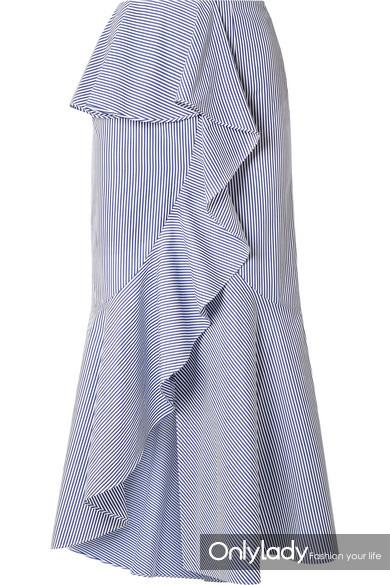 GOEN J 荷叶边条纹纯棉府绸中长半身裙 RMB 3,000