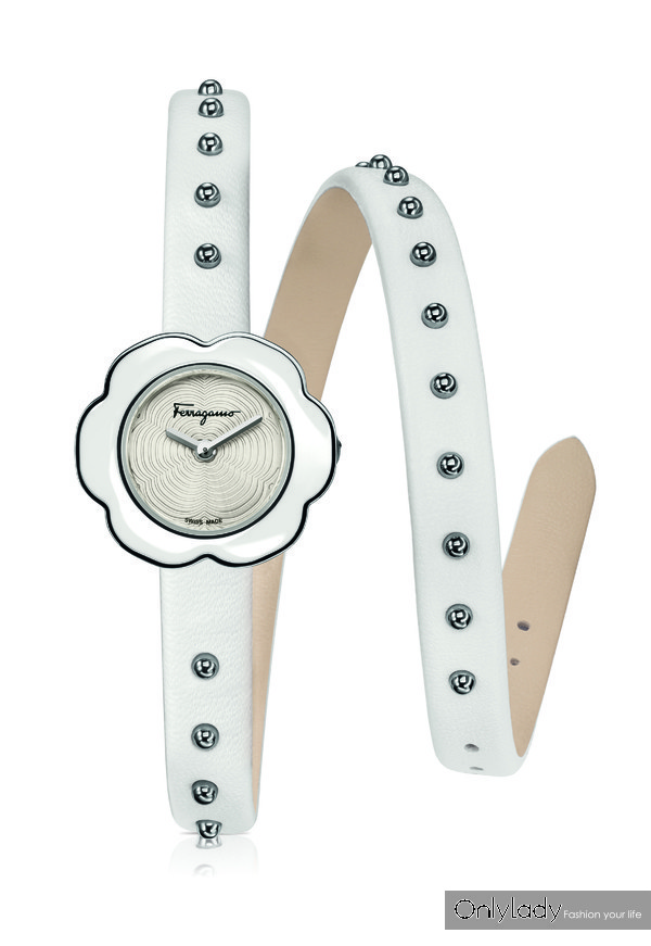 FERRAGAMO FIORE 24mm 白色双圈表带白色表盘