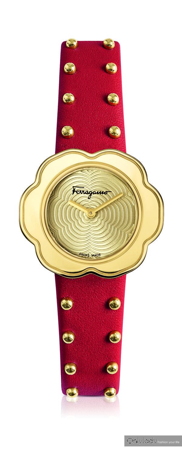 FERRAGAMO FIORE 30mm 红色表带金色表盘
