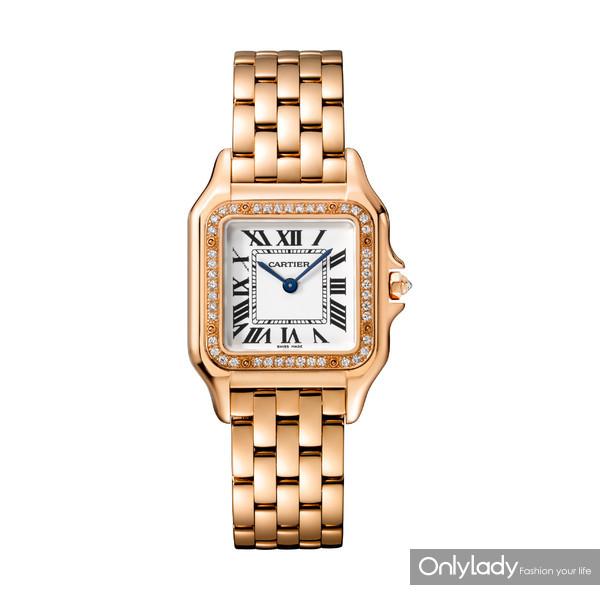 图3:Panthère de Cartier猎豹腕表,中号款,18K玫瑰金,表圈镶嵌钻石