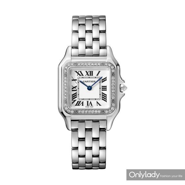 图6:Panthère de Cartier猎豹腕表,中号款,18K白金,表圈镶嵌钻石