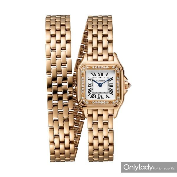 图12:Panthère de Cartier猎豹腕表,两圈款,18K玫瑰金,表圈镶嵌钻石