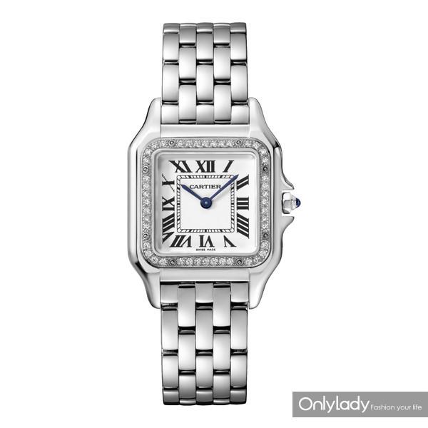 图15:Panthère de Cartier猎豹腕表,中号款,精钢,表圈镶嵌钻石