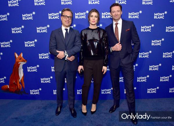 (左起)万宝龙全球首席执行官柏瑞麒、万宝龙品牌大使夏洛特·卡西拉奇、万宝龙品牌大使休·杰克曼亮相活动现场