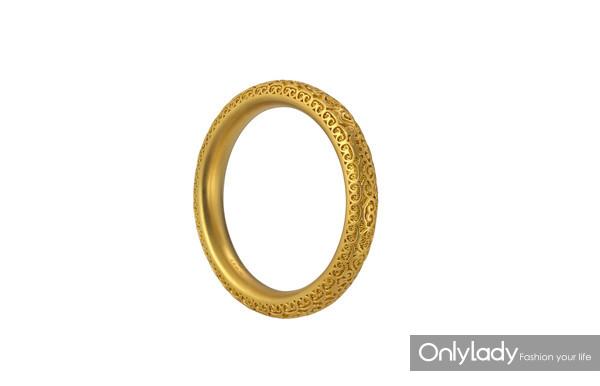 老铺黄金花丝如意祥云纹金环