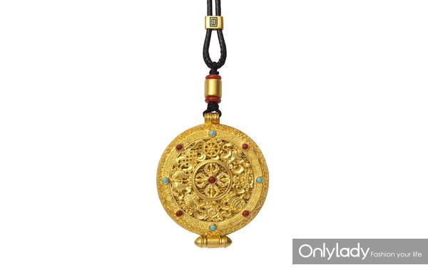 老铺黄金花丝镶嵌如意圆满宝符