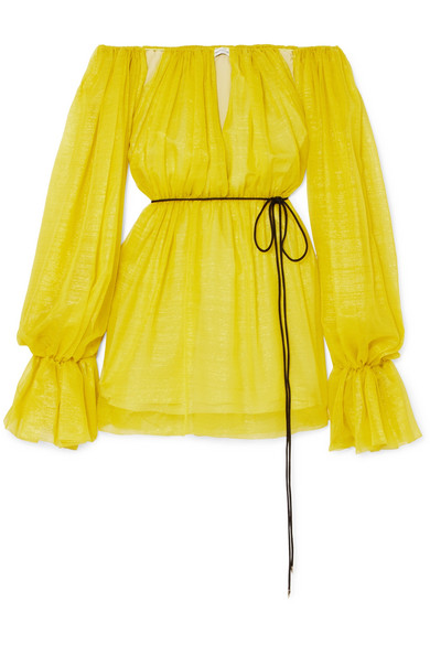 MUGLER 露肩金属感真丝混纺雪纺绸迷你连衣裙 RMB 1,340