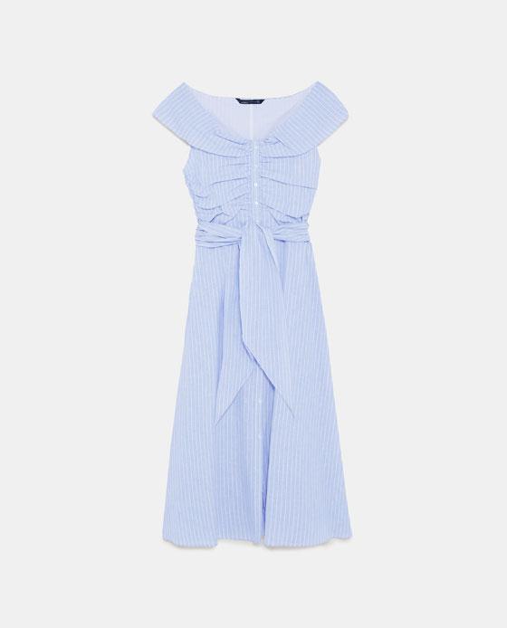 ZARA 露肩条纹连衣裙 RMB 399