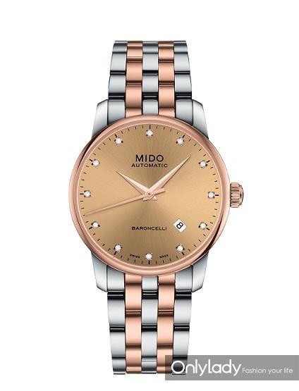 瑞士美度表BARONCELLI贝伦赛丽系列玫瑰金间金款长动能真钻男士腕表 M8600.9.67.1 - 产品图