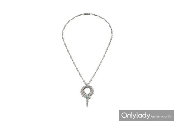 BVLGARI宝格丽Serpenti系列白金镶祖母绿钻石项链 价格 397,000 SAP CODE 354703