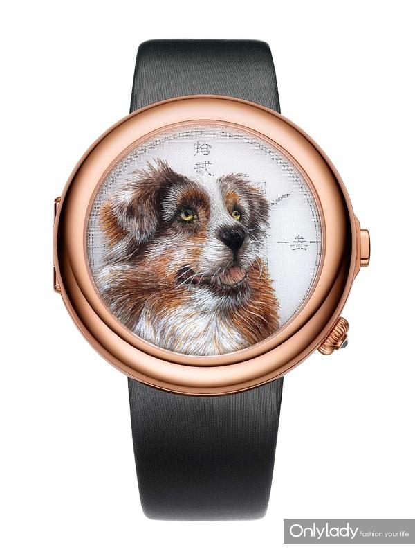 飞亚达艺系列双面绣限量狗年特别款-瑞犬纳福正面