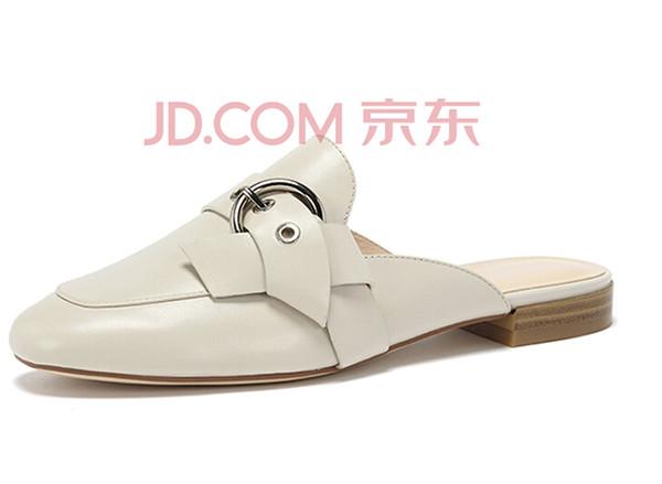 达芙妮2018春季新款牛皮简约时尚皮带扣饰穆勒鞋