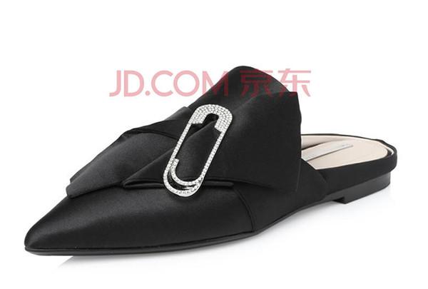 STACCATO思加图2018年春季专柜同款黑色布面女穆勒拖鞋