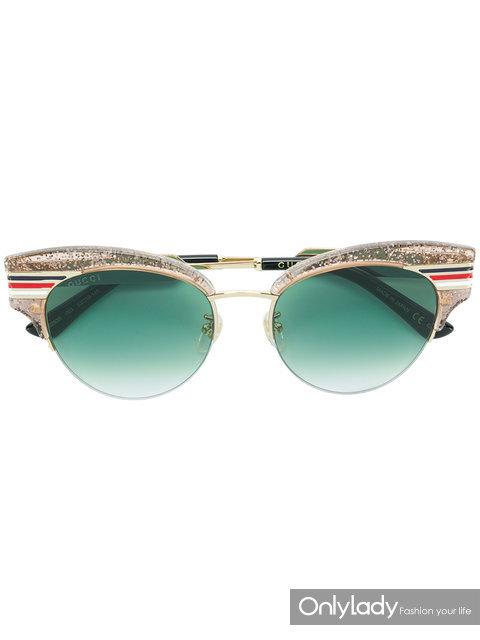 Gucci亮片猫眼太阳镜