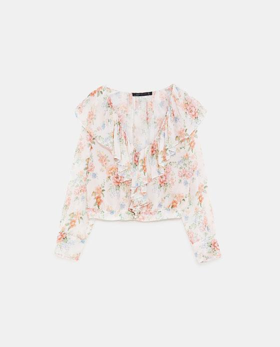 ZARA 花朵印花叠层装饰罩衫 RMB 399