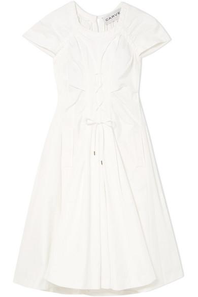 CARVEN 绑带式纯棉府绸中长连衣裙 RMB 5,800