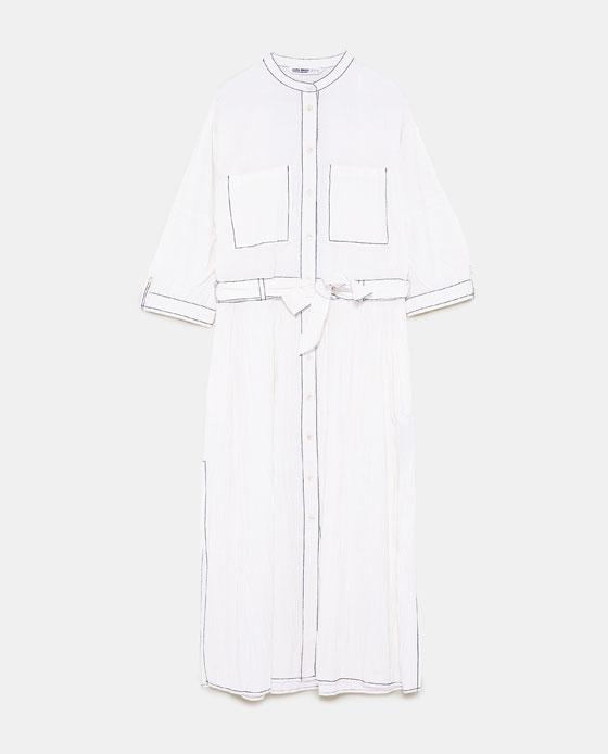 ZARA 缉线装饰皱痕效果连衣裙 RMB 399