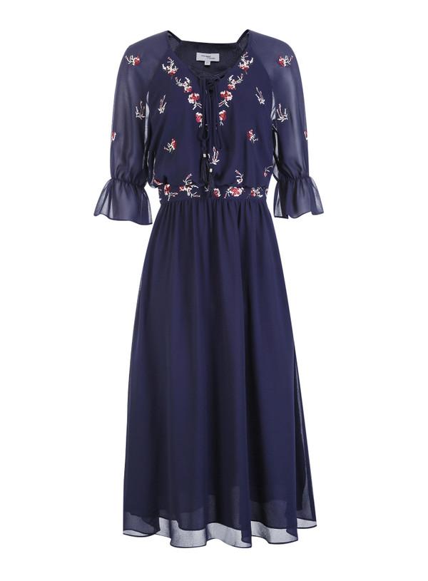 VERO MODA 系带V领荷叶袖刺绣雪纺连衣裙 RMB 799