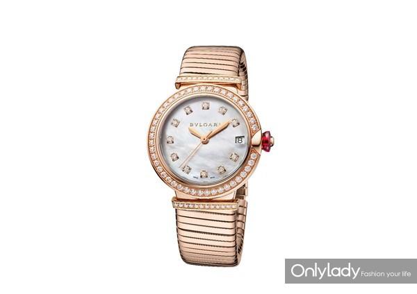宝格丽LVCEA TUBOGAS玫瑰金钻石光环腕表103034,价格275,000元