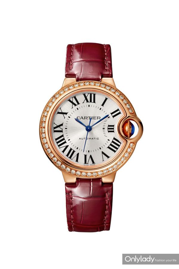 Ballon Bleu de Cartier卡地亚全新蓝气球珠宝腕表,皮表带,33毫米