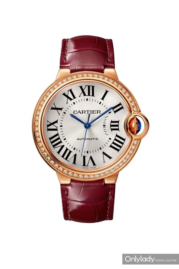 Ballon Bleu de Cartier卡地亚全新蓝气球珠宝腕表,皮表带,36毫米