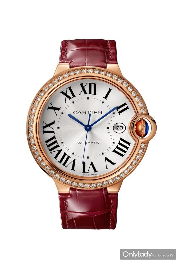 Ballon Bleu de Cartier卡地亚全新蓝气球珠宝腕表,皮表带,42毫米