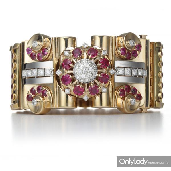 18K黄金和铂金镶嵌红宝石及钻石手镯,来自蒂芙尼古董珍藏库