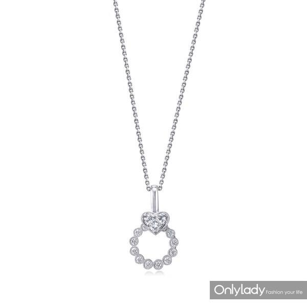 11.周生生 Lady Heart「Pure」系列18K白金钻石项链