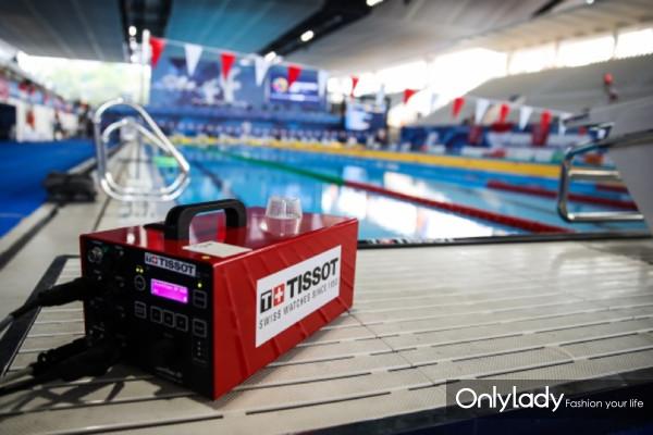 图7:天梭表为亚运会游泳比赛提供计时设备与高速摄像机