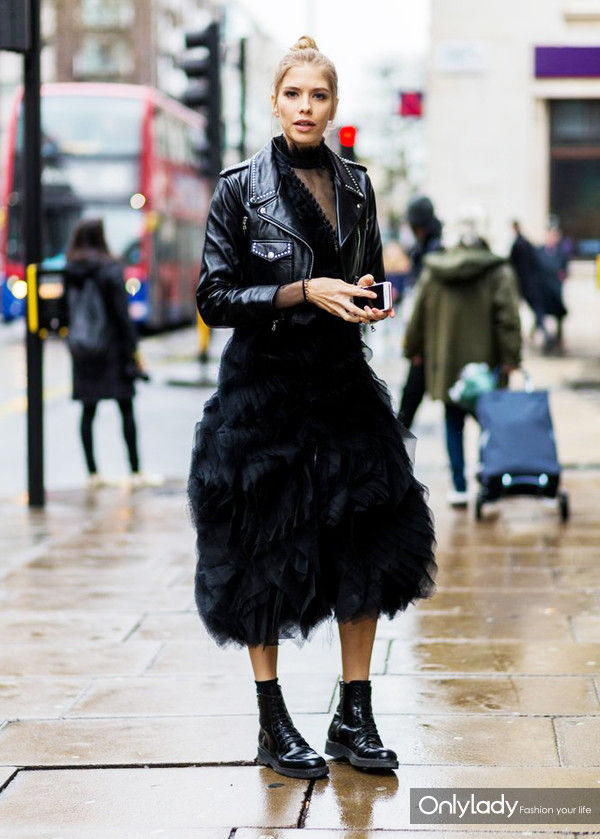 Ground-your-cocktail-dress-boots-biker-jacket