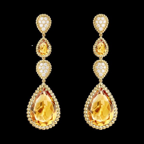 Boucheron宝诗龙Serpent Bohème波西米亚蛇型彩色系列黄金镶黄水晶吊坠耳环