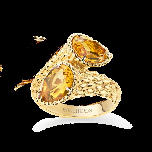 Boucheron宝诗龙Serpent Bohème波西米亚蛇型彩色系列黄金镶黄水晶双宝石戒指