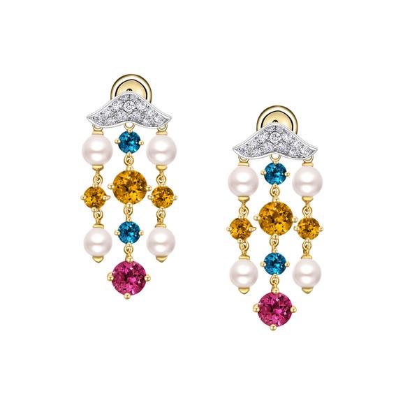 18K金镶多种宝石及钻石珍珠耳饰